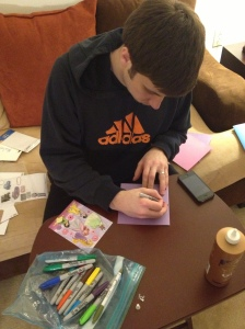 Jared Making Valentines
